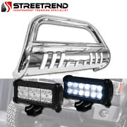 For 2005-2021 Frontier/xterra Stainless Bull Bar Guard W/36w Cree Led Fog Lights