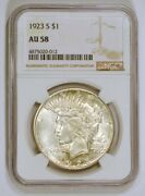 1923-s Silver Peace Dollar Coin From The San Francisco Mint Graded Au58 By Ngc