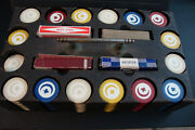 Lot Of 390 Antique Clay Poker Chips Crescent Moon And Club W/ Wooden Case Vintage