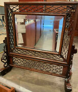 An Antique Chinese Rosewood Dresser Mirror With Pierced Frame. L57cm H47cm.