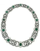 Green Emerald White Graduated Vintage Style 925 Sterling Silver Necklace