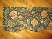 Waverly Imperial Kristy Jacobean Black Floral Striped Scalloped Valance 78