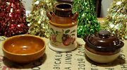 Lot Of 3 Vintage Small Stoneware Crocks And Bowl, Hand Painted Fruit, Onion Soup