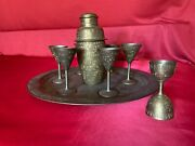 Vintage 15 India Brass Tray With Cocktail Shaker Jigger And 6 Cordial Glasses