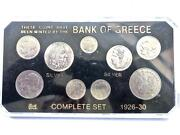 Greece 1926-1930 Coin Type Set Complete 9 Coins 2 Silver