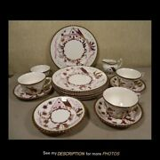 16pc Grays Pottery Dinnerware Plates Cups Saucers Creamer Sugar A8321 Pink House