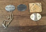 3 German Wwii Dog Tags W/ Leather Pouch Reich Army Tank Soldier Free Ship