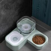 Pet Cat Dog Feeder Bowl Stainless Steel Plastic Anti Slip Water Bottle Container