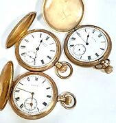 Vintage Three X Rolled Gold Fob Watches In Need Of Restoration