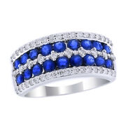 Sapphire And Diamond Double Row Wedding Cluster Band Ring 14k White Gold