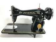 Vintage Universal Deluxe Sewing Machine Black And Gold Japan Tested And Works