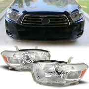 Pair Chrome Headlights Head Lamps For 2008-10 Toyota Highlander Factory Style