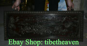 33.2 Old China Red Wood Carving Palace Foo Dog Lion Scenery Luck Screen
