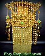 16andldquo Old China Copper 24k Gold Pearl Cloisonne Emperor Flower Dragon Hat Cap