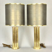70and039s Pair Cylindrical Table Bedside Gold Brass Lamps Shades Hollywood Regency