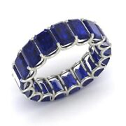 7.50 Ct Natural Blue Sapphire Gemstone Eternity Band 14k White Gold Ring Size 6