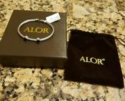 Alor Gray Stainless Steel And Two-onyx Bangle