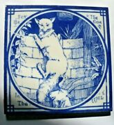 Antique 6 X 6 Tile Aesop Fable Mintons China Works Thomas Allen Fox And The Goat