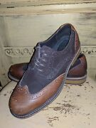 Lands End Mens Two Tone Brown Leather Wingtip Oxfords Casual Shoes 8 M Uk 7 41