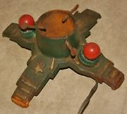Beautiful Antique Cast Iron 1940's Christmas Tree Stand With Original Lights