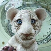 Original White Tiger Cub Playing Polystone Statue Looks So Real With Glassy Eyes