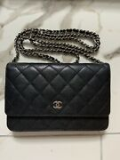 Black Caviar Wallet On Chain Silver Hardware Great