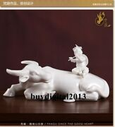 Chinese Dehua White Porcelain Hand-carved Child Cowherd Cattle Lad Figure Statue