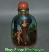 9.5cm Old China Handmade Belle Babe Cupid Inner Painting Glass Snuff Bottle