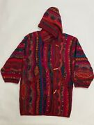Rare Vintage Coogi Coat Multicolor With Hood Wool Insulated Womens L