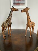 Vintage Leather Giraffe Statues 18 And 17 Inches