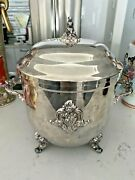 Vintage Towle Silverplate Handled Ice Bucket And Lid With Glass Liner Elegant Rich