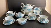 Wedgwood Chinese Blue Rare Foo Dog Tiger Tea Set 18 Pieces-excellent Condition
