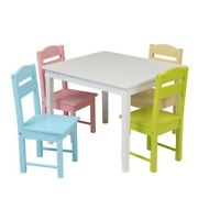 Kids Wooden Table Desk And Colorful Chair Set For Study Home Work Writing Reading