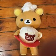 """Nwt 19"""" Rilakkuma Cafe Cup And Chef Hat Waiter Soft Plush Toy"""