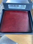 Bosca Old Leather Bifold Wallet With Card / I.d. Flap Dark Brown .