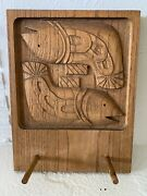 Mid-century Modern Evelyn Jerome Ackerman Panelcarve Carved Wood Hang It All