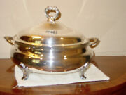 Vintage Epca By Poole Silverplate Lid Footed 11 Casserole Dish 818 And Insert