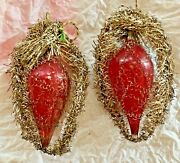 2 Antique Victorian Tinsel Glass Wired Feather Tree German Christmas Ornaments