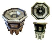 Moroccan Octagonal End Table Silver Star Filigree With Glass Top 22.5 X 26 H