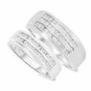 3/4 Carat Diamond His And Hers Wedding Band Set Solid 10k White Gold