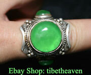 1.4 Old China Silver Inlay Green Jade Gem Dynasty Jewellery Finger Ring