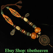 14.8 Rare Old Tibetan Turquoise Beeswax Buddhism Necklace Pendant Amulet
