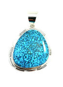 Native American Sterling Silver Navajo Spiderwebs Turquoise Stone Pendants