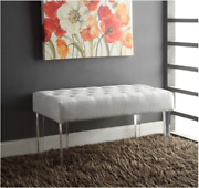 Entry Bench Chair Upholstered Tufted Modern Contemporary Furniture Acrylic Legs