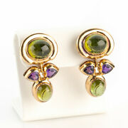 Vintage Earrings 14k Gold With Tourmalines And Amethysts