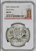 2021 Great Britain Andpound2 Silver 1oz Coin | Royal Coat Of Arms | Ngc Ms69 | Top Pop