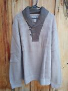 Nwt Duluth Trading Shawl Collar Infantry Sweater Beige And Brown Size 4xl