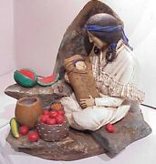Vintage 1981 Signed Florentine Art Sw Native American Woman And Baby Table Lamp