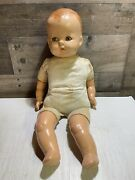 Antique Composite And Cloth Baby Doll W/ Sleepy Closing Eyes + Crying Noise Hcc