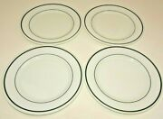 Lot 4 Pyrex Corning Restaurant Ware Double Tough Green Ring Dinner Plate Vintage